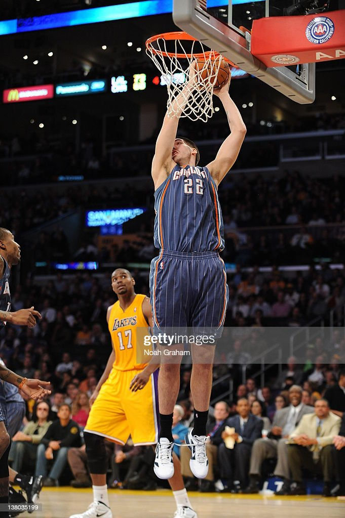 Byron Mullens #22 of the Charlotte Bobcats dunks during the game between the Los Angeles Lakers and the Charlotte Bobcats at Staples Center on January 31, 2012 in Los Angeles, California.