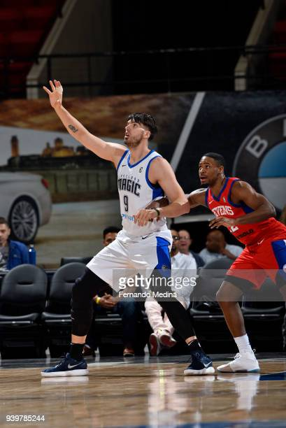 Byron Mullens of the Lakeland Magic calls for the ball against the Delaware 87ers on March 23, 2018 at RP Funding Center in Lakeland, Florida. NOTE...