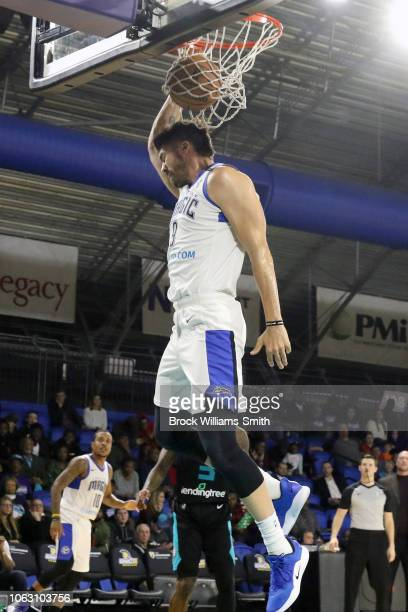 Byron Mullens of the Lakeland Magic dunks the ball against the Greensboro Swarm during the NBA GLeague on November 17 2018 at the Greensboro Coliseum...