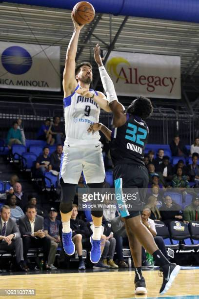 Byron Mullens of the Lakeland Magic shoots the ball against the Greensboro Swarm during the NBA GLeague on November 17 2018 at the Greensboro...