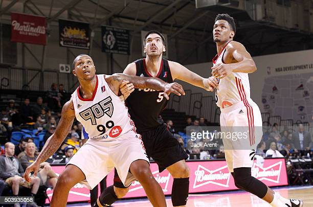 Byron Mullens of the Sioux Falls Skyforce looks for position against the Raptors 905 during the 2016 NBA DLeague Showcase presented by SAMSUNG on...