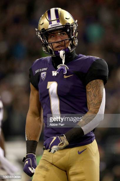 Byron Murphy of the Washington Huskies reacts in the first quarter against the Stanford Cardinal during their game at Husky Stadium on November 3...