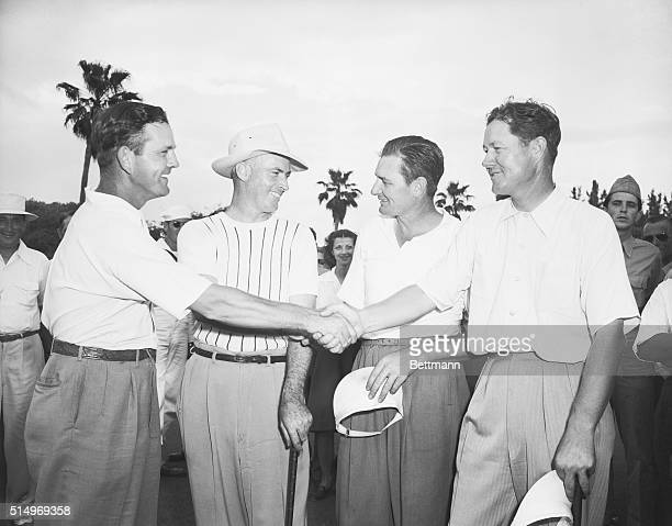 Byron Nelson and Harold McSpaden beat Sammy Byrd and Denny Shute in the final match of the $7500 International Four Ball Tournament yesterday...