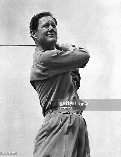 Byron Nelson swinging his golf club