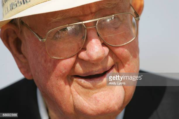 Byron Nelson the tournament host is pictured during the final round of the EDS Byron Nelson Championship on May 15 2005 at the TPC Las Colinas in...