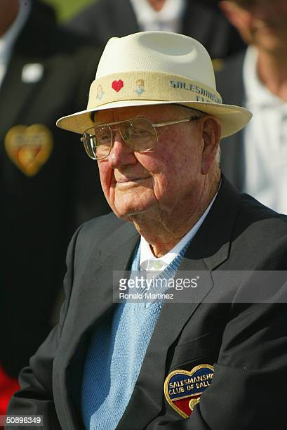 Byron Nelson watches the final round of the EDS Byron Nelson Championship on May 16 2004 at the TPC Las Colinas in Irving Texas