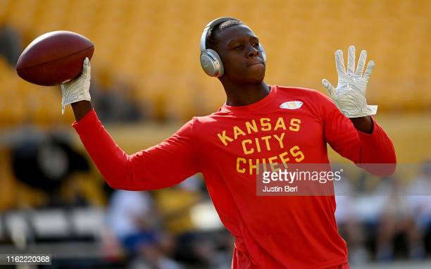 Byron Pringle of the Kansas City Chiefs warms up before a preseason game against the Pittsburgh Steelers at Heinz Field on August 17 2019 in...