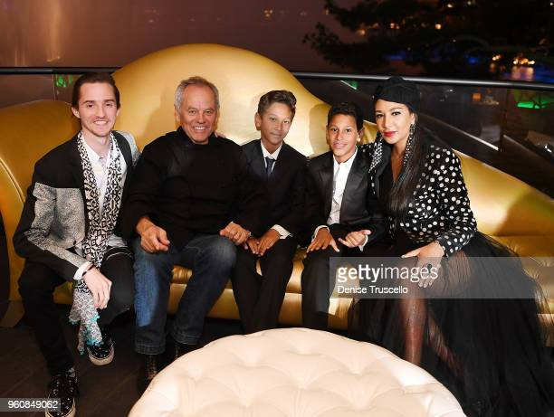Byron Puck Wolfgang Puck Alexander Puck Oliver Puck and Gelila Puck attend Spago at Bellagio on May 20 2018 in Las Vegas Nevada