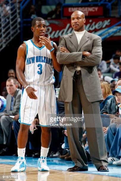 07f504e7e Byron Scott head coach of the New Orleans Hornets talks to Chris Paul on  October 17
