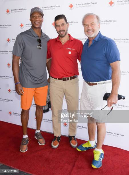 Byron Scott, Jarrett Barios and Kelsey Grammer attend the Red Cross' 5th Annual Celebrity Golf Tournament at Lakeside Golf Club on April 16, 2018 in...