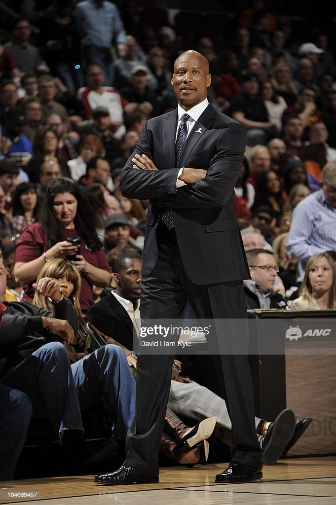 Byron Scott of the Cleveland Cavaliers walks by the bench during the game against the Los Angeles Clippers at The Quicken Loans Arena on March 1, 2013 in Cleveland, Ohio.