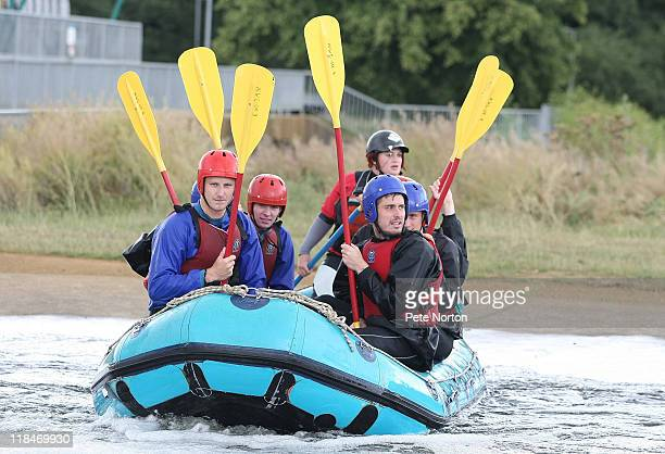 Byron Webster and Ryan Gilligan of Northampton Town sit in a raft during training session at Nene Whitewater centre on July 7, 2011 in Northampton,...