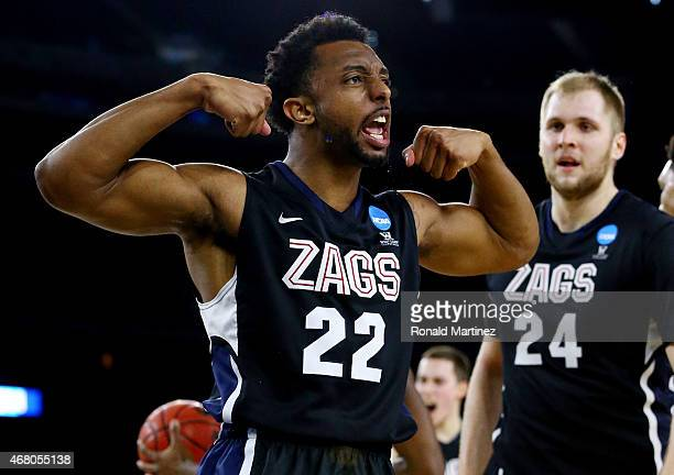Byron Wesley of the Gonzaga Bulldogs reacts in the second half against the Duke Blue Devils during the South Regional Final of the 2015 NCAA Men's...