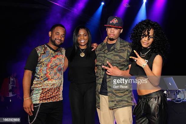 Byron Wright Catherine Brewton Skipper Jones and Teyana Taylor pose on stage during BMI's 15th annual Unsigned Urban showcase at Terminal West on...