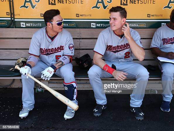 Byung Ho Park and Max Kepler of the Minnesota Twins sit in