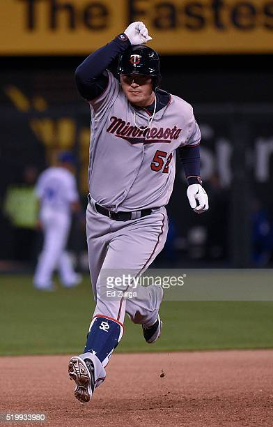 Byung Ho Park of the Minnesota Twins celebrates as he runs the bases after hitting a home run in the eighth inning against the Kansas City Royals at...