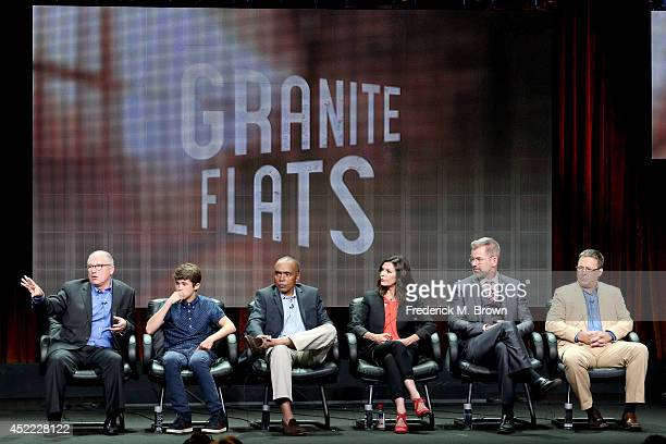 BYUtv Director of content Scott Swofford actors Jonathan Morgan Heit Tom Wright Finola Hughes and Peter Murnik and actor/director Brian McNamara...