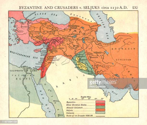 Byzantine and Crusaders v Seljuks circa 1130 AD' circa 1915 Map of civilisations in the Middle East during the 12th century Byzantine other Christian...