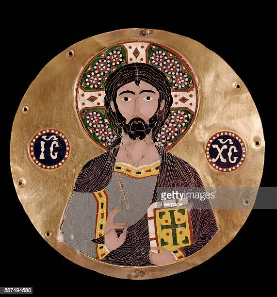 Christ Pantocrator The halo of Jesus Christ bears a cross and the christogram ICXC Cloisonne enamel plaque 10th century Museo Lazaro Galdiano Madrid...