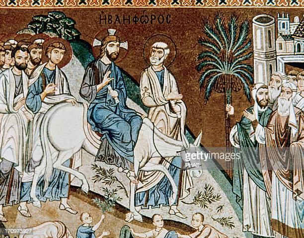 Byzantine Art Italy Jesus' triumphal entry into Jerusalem Mosaic Palace of the Normans or Royal Palace Palatine Chapel 12th century Palermo Sicily