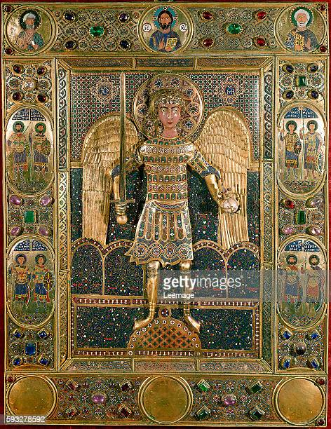 representation of Archangel St Michael on a binding decorated missal gold leaf regrowth and enamels 12th century The treasury of Saint Mark's...