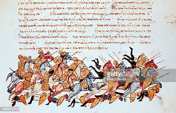 Byzantine cavalrymen overwhelming enemy cavalry and foot soldiers Illustrated manuscript