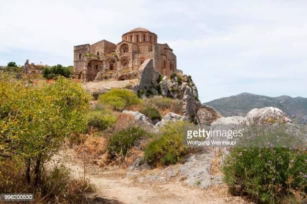 byzantine church of agia sophia, medieval fortified village, monemvasia, laconia, peloponnese, greece - monemvasia - fotografias e filmes do acervo