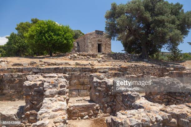 Byzantine church of Agios Georgios Galatas at Agia Triada Archeological site, island of Crete, Greece, Mediterranean