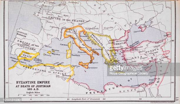 Byzantine Empire at death of Justian 565 AD From 'A Literary and Historical Atlas of Europe' by J G Bartholomew Italy 1923