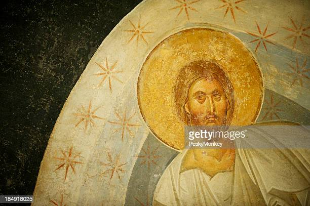 byzantine fresco portrait of jesus christ in gold leaf - byzantine stock photos and pictures