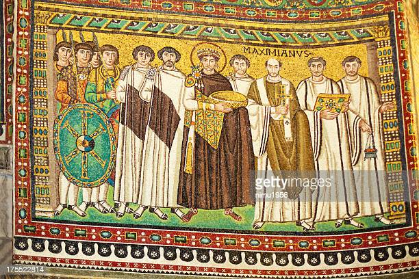 byzantine mosaic in san vitale basilica, ravenna, italy. - byzantine stock photos and pictures