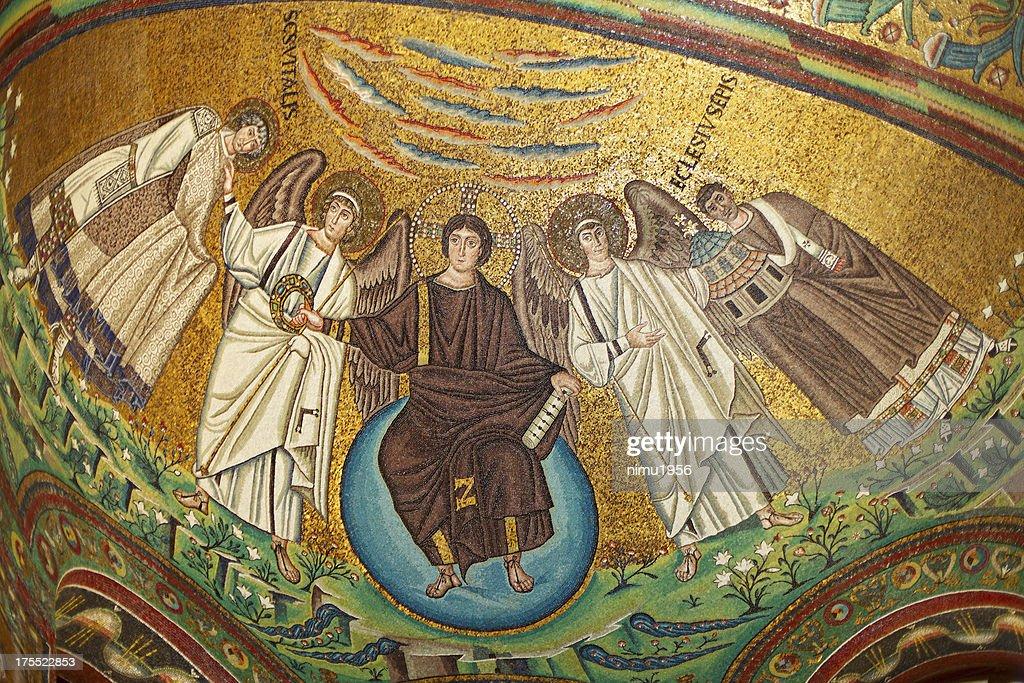 Byzantine Mosaic in San Vitale Basilica, Ravenna, Italy. : Stock Photo