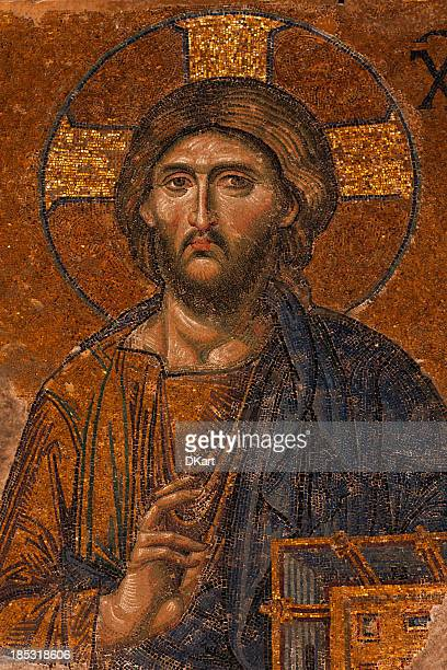 byzantine mosaic of the jesus christ - byzantine stock photos and pictures