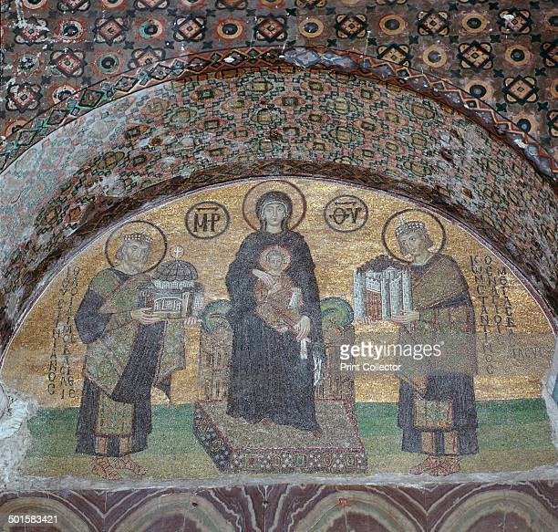 Byzantine mosaic of the Virgin with Justinian and Constantine in the lunette over the south portal of St Sophia in Istanbul