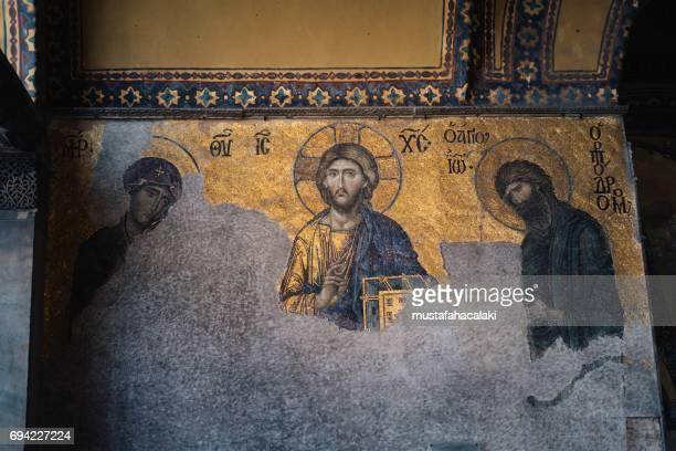 byzantine mosaics of hagia sophia - byzantine stock photos and pictures