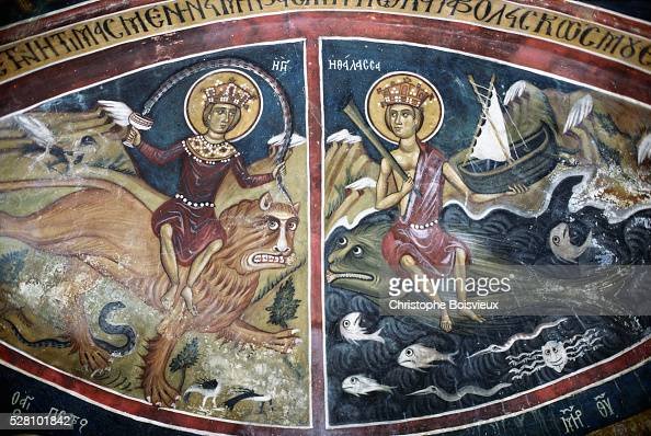 Byzantine Painting of the Behemoth and Leviathan from Asinou