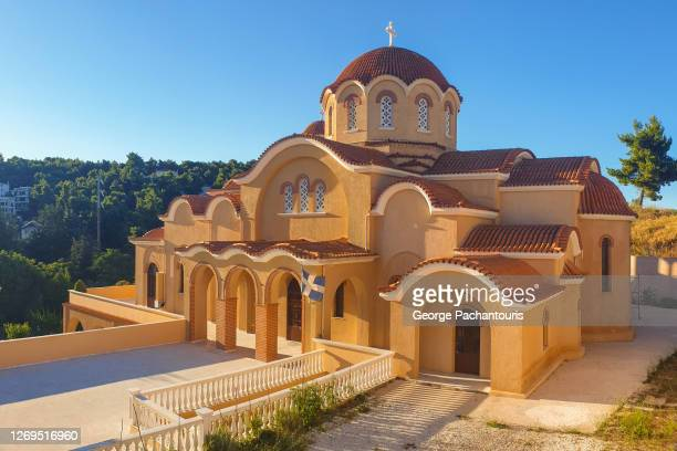 byzantine style greek orthodox church - greek orthodoxy stock pictures, royalty-free photos & images