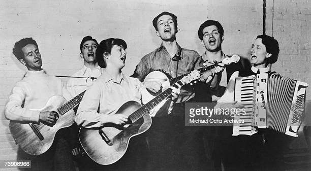 c 1940 New York New York City Almanac Singers LR Woody Gurthrie Millard Lampell Bess Lomax Hawes Pete Seeger Arthur Stern Sis Cunningham
