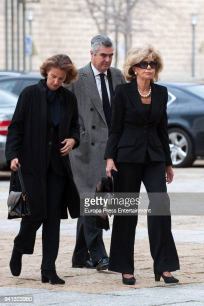 c attends the the mass to mark the 25th Anniversary of the Count of Barcelona's death the monastery of El Escorial on April 3 2018 in El Escorial...