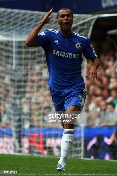 c of Chelsea celebrates scoring the first goal during the Barclays Premier League match between Chelsea and Tottenham Hotspur at Stamford Bridge on...