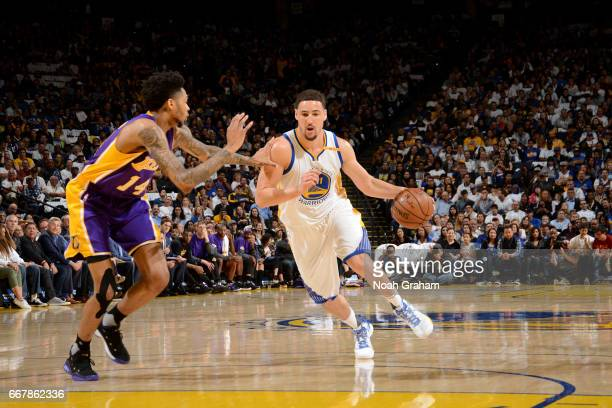 c of the Golden State Warriors handles the ball against the Los Angeles Lakers on April 12 2017 at ORACLE Arena in Oakland California NOTE TO USER...