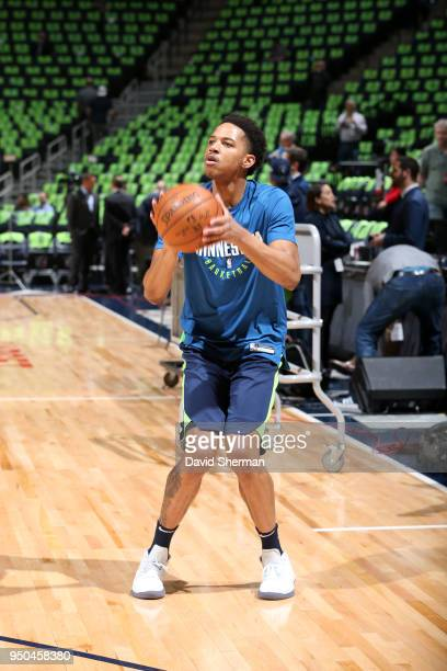 c of the Minnesota Timberwolves warms up before the game against the Houston Rockets in Game Four of Round One of the 2018 NBA Playoffs on April 23...