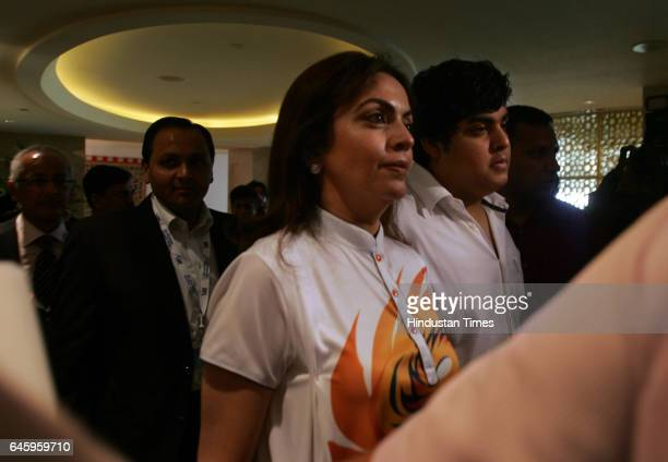 C0owner of 'Mumbai Indian's cricket team Neeta Ambani arrives for a press conference after the Indian Premier League auction in Mumbai on January 19...