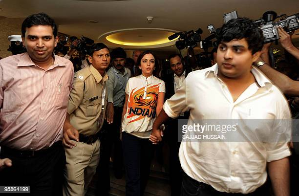 C0owner of 'Mumbai Indians' cricket team Neeta Ambani arrives for a press conference after the Indian Premier League auction in Mumbai on January 19...