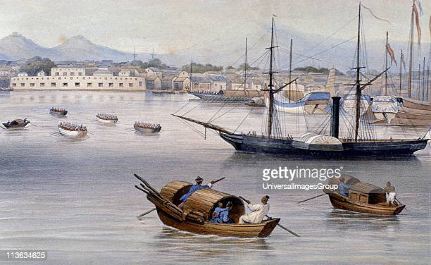 Shanghai harbour c1875 From a watercolour Shanghai was one of the Treaty Ports established in 1842 for British traders after China's defeat in the...