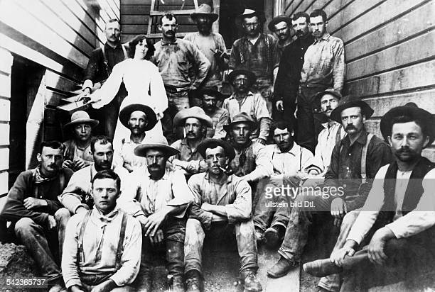 GOLD MINERS c1880 Gold miners at the Lagrange Mine near Weaverville California wearing Levi Strauss jeans c1880