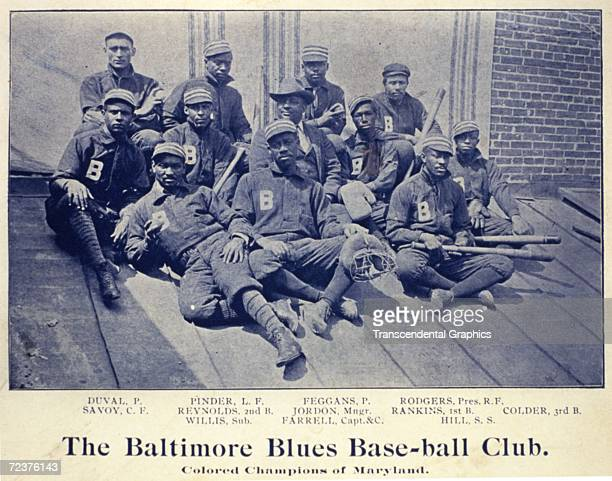 "C.1890. The Negro team, the Baltimore Blues Base Ball Club, ""Colored Champions of Maryland,"" poses for a team portrait sometime around 1890."