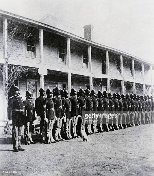 BLACK SOLDIERS AT FORT RANDALL IN 25TH OR 216TH US INFANTRY Ca 188081 Clad in fulldress uniforms AfricanAmerican soldiers of Company B 25th US...