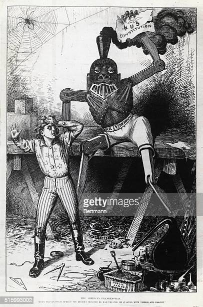 Ca 1880s'The American Frankenstein' a cartoon of the railroad monopoly as a monstrous railroad robot holding the US Constitution Uncle Sam shown as...
