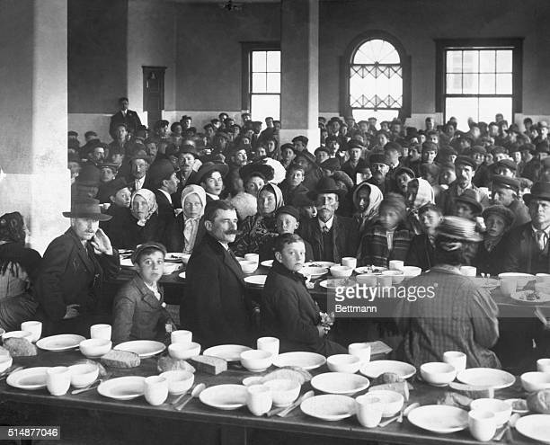 Ca. 1900-New York, NY: Dinning Room for detained immigrants at Ellis Island.